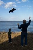 A boy flying a kite with his grandfather at the lake