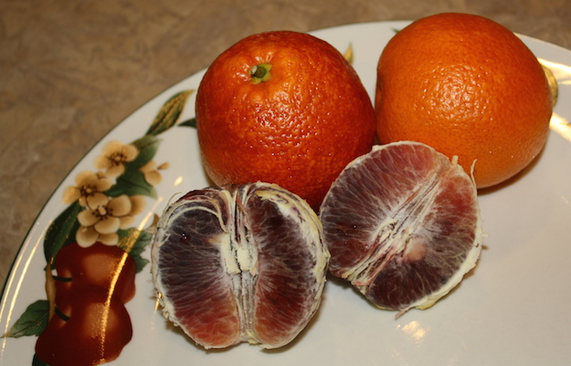 blood oranges is one of the ingredients in a delicious valentine smoothie