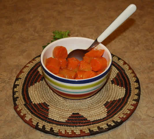 Nothing is tastier than bright orange carrots with ginger sauce.