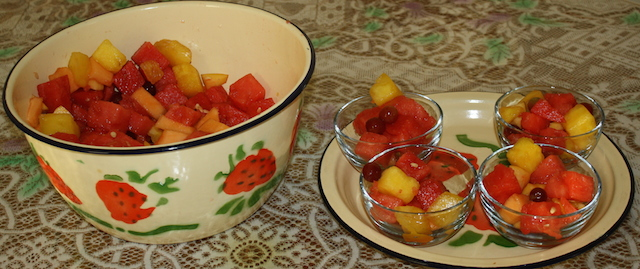 fruit salad for a family get-together on a hot summer day.