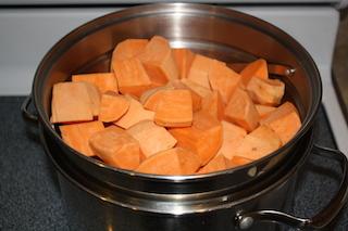 sweet potatoes chopped in the pan