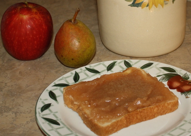 Pear butter is good enough to eat with a spoon but tastes wonderful on toast or cake or even strawberry bread.