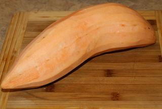 a peeled sweet potato