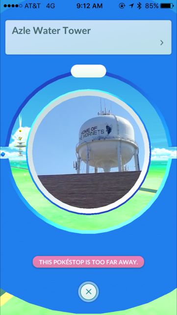 Wal-Mart doesn't have a Pokestop of its own in Azle but if you park close to the water tower on Wal-Mart's parking lot you are there.