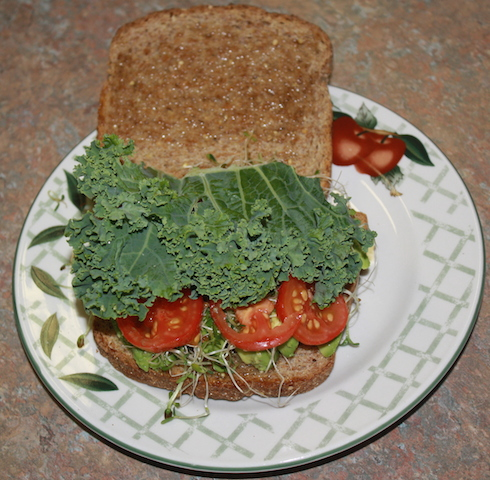 avocado sandwich on sprouted grain bread with a generous piece of kale and sliced tomatoes added
