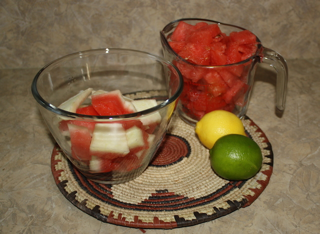 watermelon and rind ready to make a smoothie
