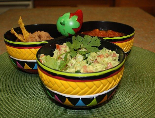 homemade salsa and guacamole - yum