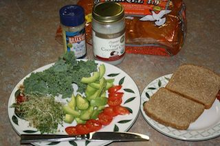 use ezekiel bread to make a tasty veggie sandwich. healthful alternative bread.