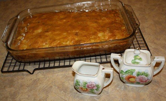 Glazed pear cake in pan